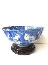 Antique Japanese Porcelain Blue & White Hand Painted Bowl