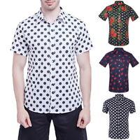 Summer Men's Short-sleeved Botton Down Casual Shirts Dot Printed Cotton Shirts G