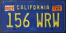 Original Nummernschild USA California 1980 Plaque d'immatriculation TARGA