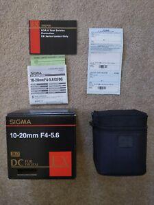 Mint Sigma 10-20mm f/4-5.6 EX DC K Mount Pentax Autofocus Lens - Made in Japan