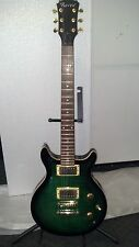 RAVEN ELECTRIC GUITAR GREEN QUILTED LP, GOLD HARDWARE 2 HUMBUCKER 3 WAY SWITCH