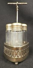 Antique Childs Glass Condiment Set in Silver Plate Frame Derby Silver Co 3 Piece