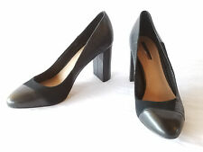 "Tahari Black Suede Almond Cap Toe Patchwork Pump Size 7M 3.5"" Covered Block Heel"