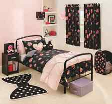 New Girls Rockabilly Pink & Black Roses & Ribbons Single Duvet Cover Set Bows