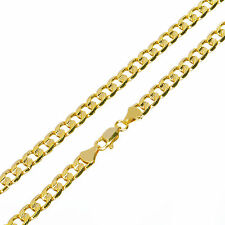 "Solid Men's 14K Gold Plated 5mm / 24"" Cut Concave Cuban Link Chain Necklace"