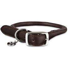 Bond & Co. Mahogany Rolled Leather Dog Collar, For Neck Sizes 18-21, Large / XL
