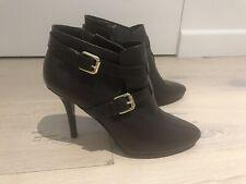 Lauren By Ralph Lauren Dark Brown Leather Ankle Boots Size 6 UK Brand New!