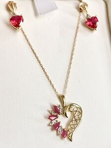 10k Yellow Gold And Rubies Set Of Earrings, Pendant, &Necklace.