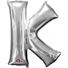 "Letter K Silver Foil Balloon 16"" 40cm Air Fill Age Name Birthday Anniversary"