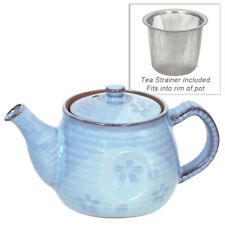 Japanese Porcelain Light Blue Floral Teapot Tea Pot w/ Strainer, Made in Japan