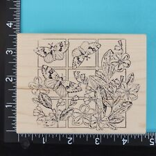 Butterflies Flowers Frames Window Magenta Floral Wood Mounted Rubber Stamp