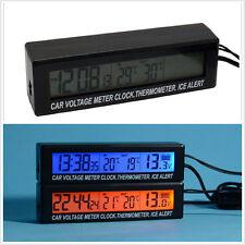 Car Thermometer In/Out Clock LCD Digital Blue/Orange Backlit Ice Alert Voltage