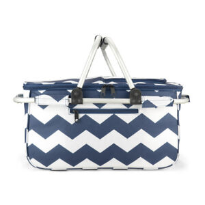 Eaglemate Foldable Outdoor Picnic Insulated Cooler Basket Storage Tote Blue
