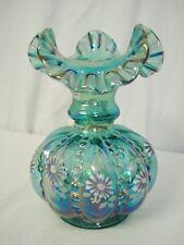 Fenton Glass Beaded Melon Ruffled Vase Spruce Green Carnival 7693 Mint HP Flower