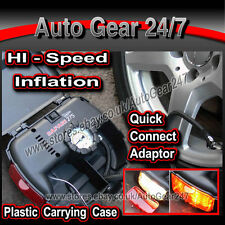 12v Hi Speed neumático Compresor De Aire Inflador En Estuche + trabajo y de luz de advertencia
