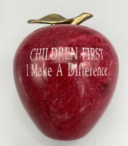 Red Marble Apple Paperweight w/ Brass Stem Engraved Children First Decor School
