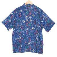 Vintage Sonic Mens Short Sleeve Bowling Shirt Size Large Blue Retro