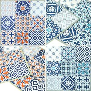 Floor Tiles Self Adhesive Vinyl Flooring Kitchen Bathroom Patterned Blue Orange