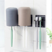 AM_ Bathroom Wall Mounted Toothbrush Holder Organizer Storage Rack Gargle Cup De
