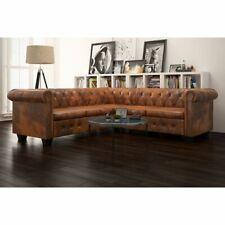 vidaXL Chesterfield Sofa 5-Sitzer Couch Wohnmöbel Büromöbel Kunstleder Braun