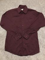 Pronto Uomo Mens Burgandy Long Sleeve Button Up Dress Shirt Size 14 ½ 32/33