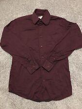 Pronto Uomo Mens Burgandy Long Sleeve Button Up Dress Shirt Size 14 ½ 32/33