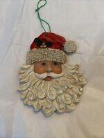 Santa Ornament Face Head Ornament Carved Christmas Holidays