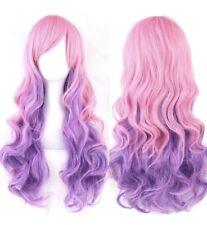 UK Fashion Cosplay Women Long Full Hair Anime Wig Wavy Straight Pink Purple