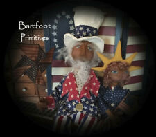 Primitive Americana Uncle Sam Liberty Sculpted Doll Pinwheel Flag Paper Patten