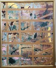 Huge Vintage Mixed Abstract Media Oil Painting 42x34