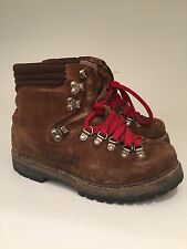 Vtg Garmisch 6 1/2 Suede Red Lace Moutaineering, Hiking Boots Vibram Steampunk