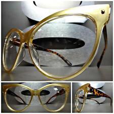 VINTAGE RETRO CAT EYE Style Clear Lens EYE GLASSES Gold & Tortoise Fashion Frame