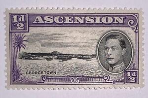 Travelstamps Ascension Stamps 1938 1/2d Black And Violet KGV MINT OG LH Perf 13