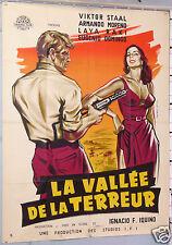 AFFICHE ANCIENNE FILM 1955 LA VALLEE DE LA TERREUR