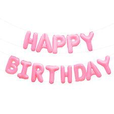 Happy Birthday Folien Luftballon Girlande Rosa für Kinder Geburtstag Party Deko