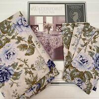 Waterford Linens Jaden 60 x 84 Cotton Tablecloth 4 Napkins Set Blue Floral Roses
