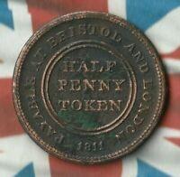 1811 Bristol and London Patent Sheathing 1/2 Penny Token-  Nice Shape- Rare