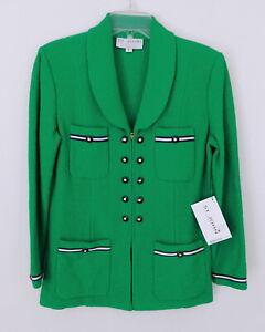 St. John Collection Kelly Green and Navy Santana Knit Zip Front Blazer sz 8 NWT