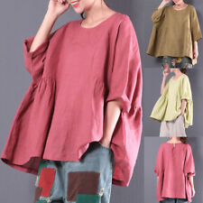 Oversized Womens 3/4 Sleeve Retro Loose Round Neck Tunic Tops Blouses Shirts Tee