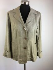 J Jill Blazer 14 Lightweight Jacket Green Beige Floral Textured Linen Blend