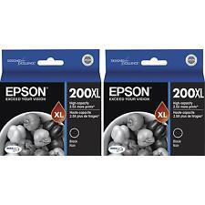 2-PACK Epson GENUINE 200XL Black Ink (NO RETAIL BOX) WORKFORCE WF-2530 WF-2540