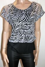 suzannegrae Brand Black Prnted Short Sleeve Blouse Top Size S BNWT #SR50