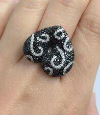 14k Solid White Gold Black & White Genius Diamond Big Heart Ring 2.30CT. Sz 6.75