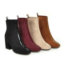 Womens Block Heel Ankle Boots High Rise Ladies Chelsea Stretch Sock Shoes Boots