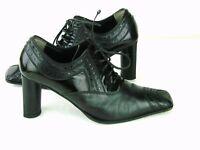 Baldinini LaceUp Granny Leather Block Heels Pumps Sz US 8 EU 38.5 Black w Patent