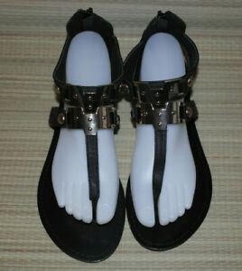 WAREHOUSE WOMENS BLACK ZIP LEATHER GLADIATOR FLAT SANDALS SIZE:6/39(WS60)