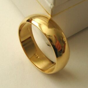 6 mm GENUINE 750 18ct 18K SOLID GOLD WEDDING BAND RING Size  N/7 to Z+2/14