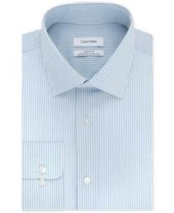 Calvin Klein Regular Fit Striped Dress Shirt Blue Mens 16.5 34/35 New