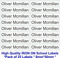 25 IRON ON Personalised Name School Labels Stickers Tags School Nursery Carehome