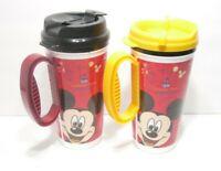 2 Disney Park Travel Mugs 16oz Insulated Mickey,Minnie,Donald,Goofy & Pluto